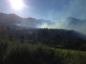 Fire on a neighbours farm just below us.