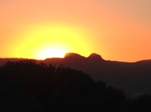 Sunset over Paarl rock
