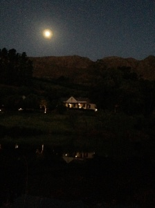 An almost full moon rises behind the house