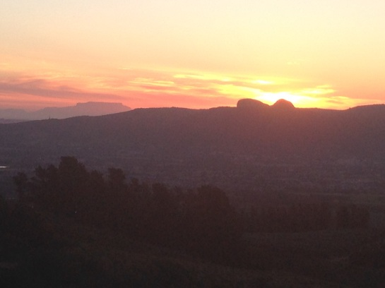 Sun setting behind Paarl Rock